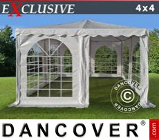 Gazebo Per Feste Exclusive 4x4m PVC, Bianco