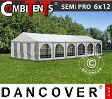 Gazebo Per Feste SEMI PRO Plus CombiTents® 6x12m, 4 in 1, Grigio/Bianco