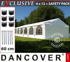 Gazebo Per Feste Exclusive 6x12m PVC, Bianco