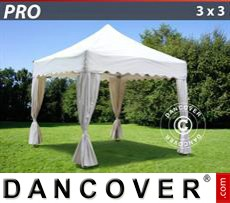 "Gazebo Per Feste PRO ""Wave"" 3x3m Bianco, incl. 4 tendaggi decorativi"
