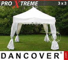 "Gazebo Per Feste Xtreme ""Wave"" 3x3m Bianco, incl. 4 tendaggi decorativi"
