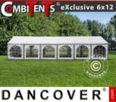 Gazebo Per Feste Exclusive CombiTents® 6x12m, 4 in 1, Grigio/Bianco