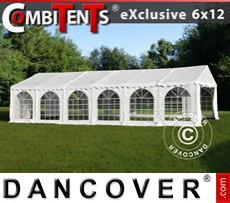 Gazebo Per Feste Exclusive CombiTents® 6x12m, 4 in 1, Bianco